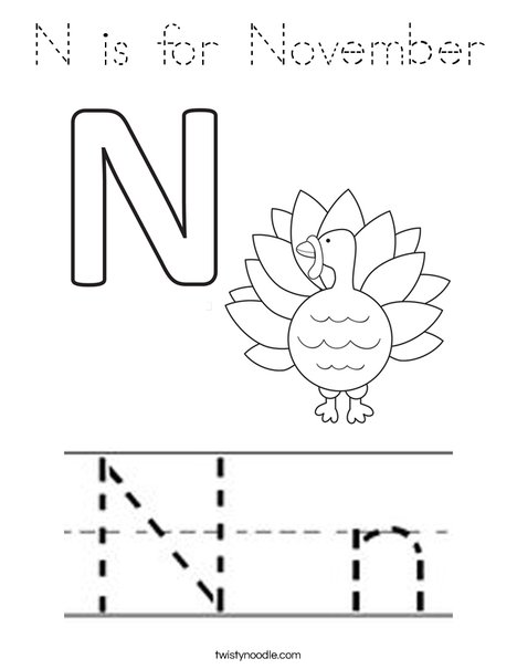 N is for November Coloring Page