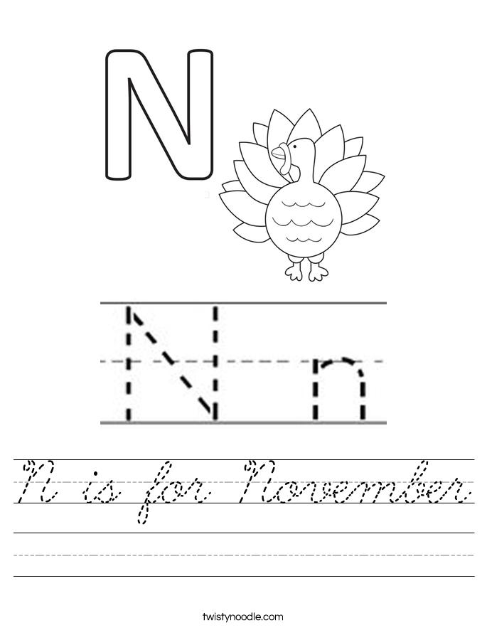 N is for November Worksheet