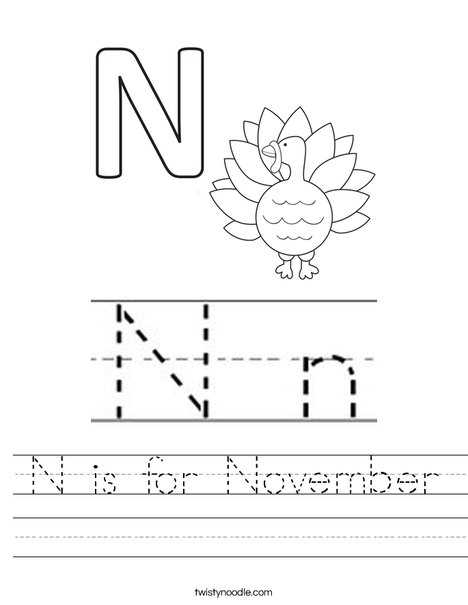 N is for November Worksheet