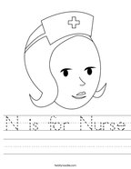 N is for Nurse Handwriting Sheet