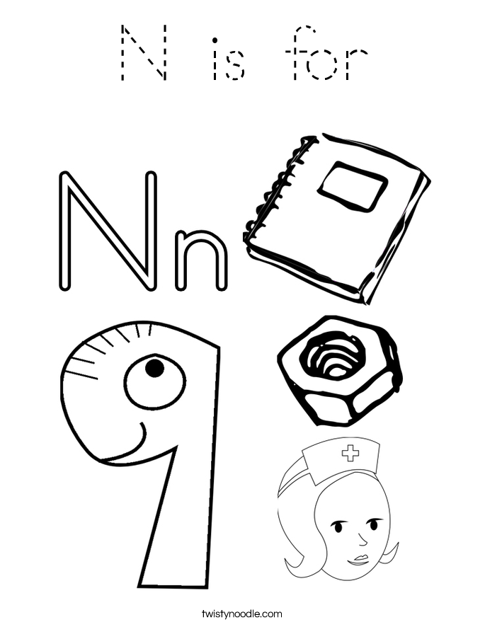 n coloring pages | N is for Coloring Page - Tracing - Twisty Noodle