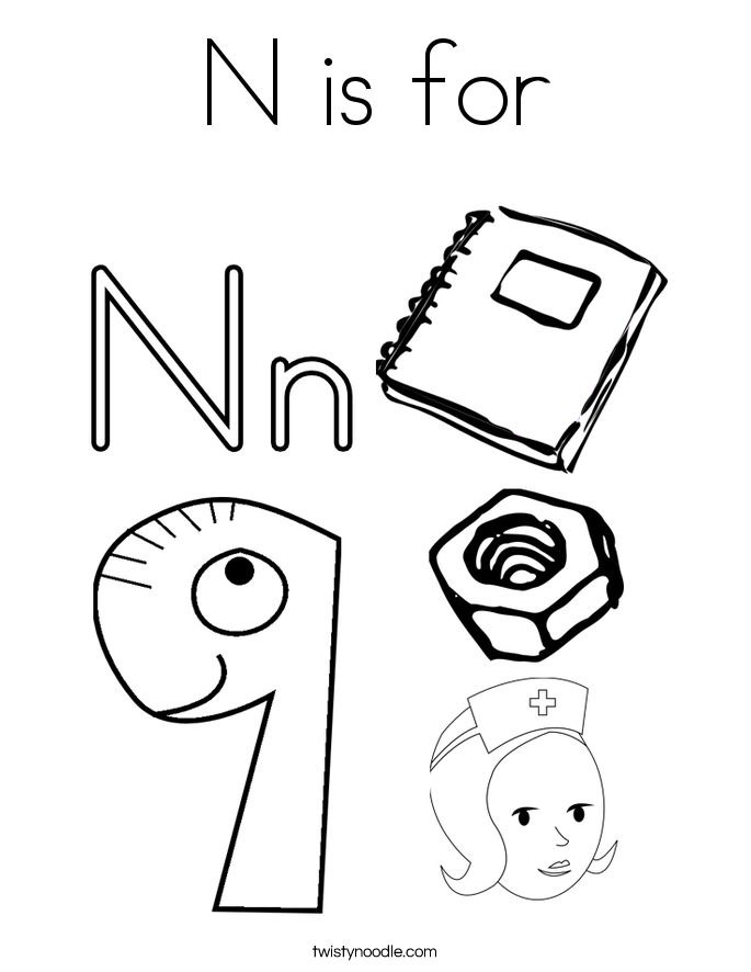 n is for coloring page