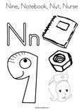 Nine, Notebook, Nut, Nurse Coloring Page