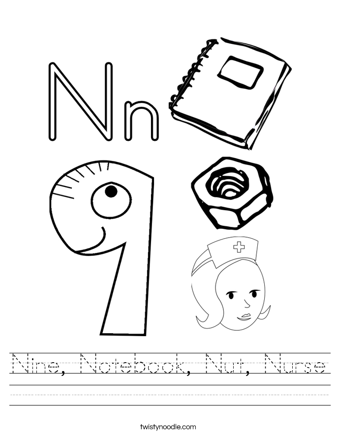 Nine, Notebook, Nut, Nurse Worksheet