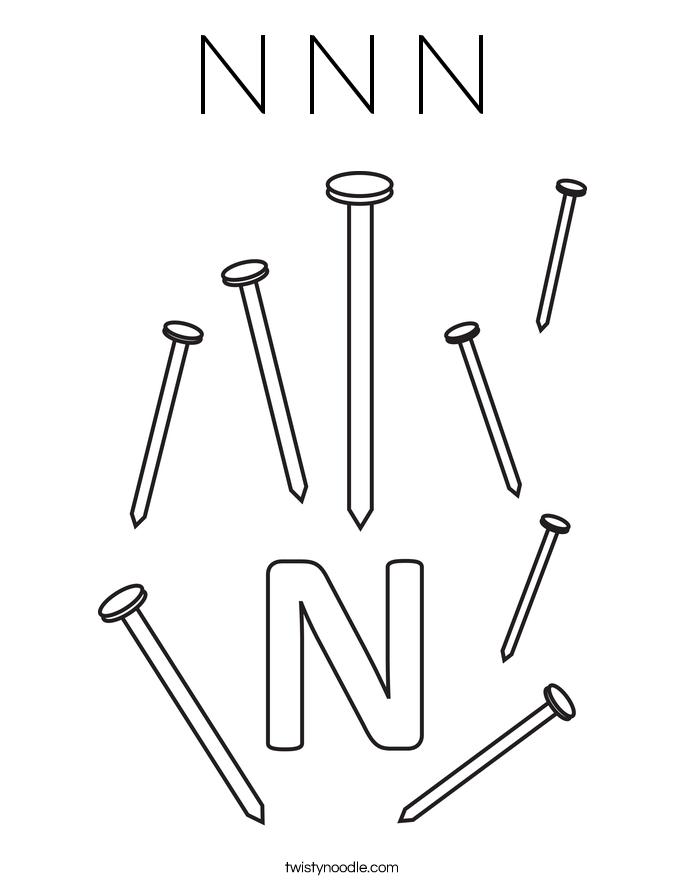 N N N Coloring Page