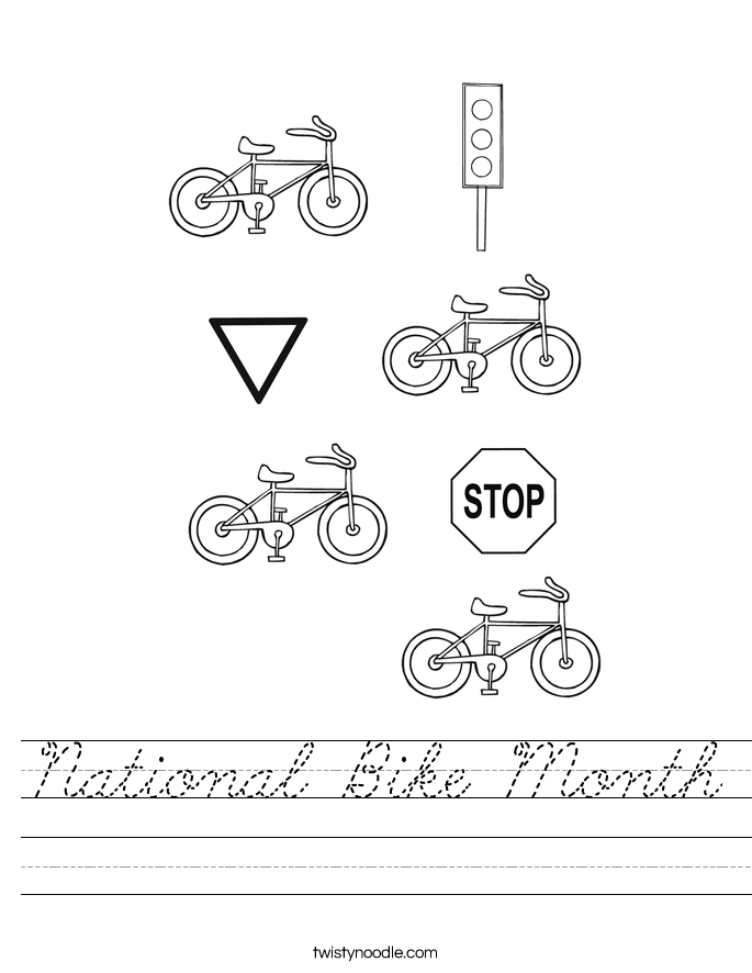 National Bike Month Worksheet