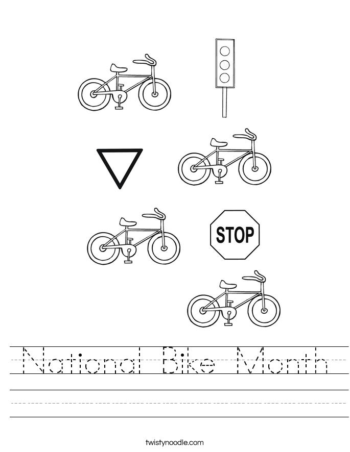 National Bike Month Worksheet