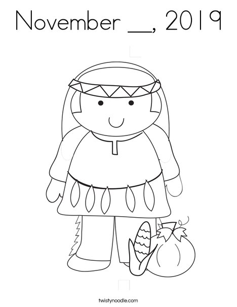Native American Boy Coloring Page