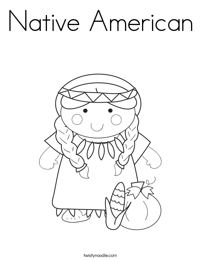native american coloring page - Girl Indian Coloring Pages