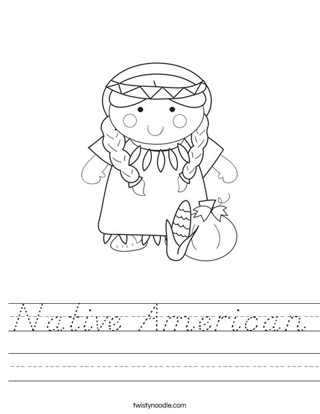 Native American Girl Worksheet
