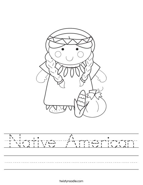 Native American Girl Worksheet