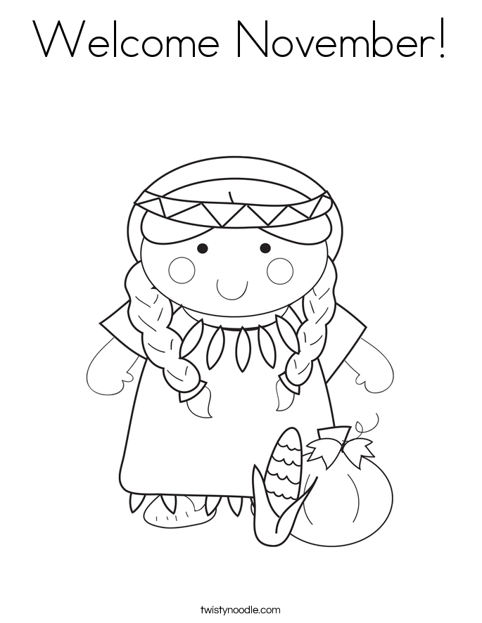 Welcome November Coloring Page Twisty Noodle November Coloring Page