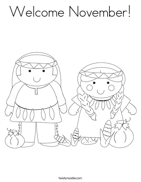 Welcome November Coloring Page Twisty Noodle