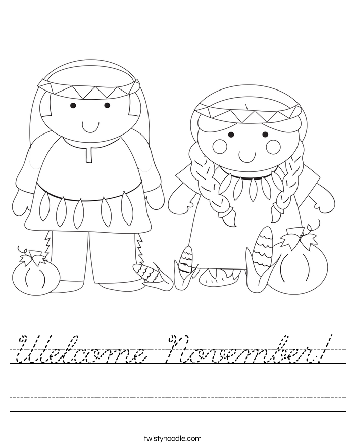 Welcome November Worksheet - Cursive - Twisty Noodle