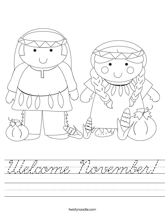 Welcome November! Worksheet