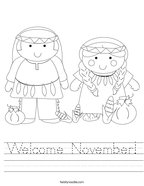 Welcome November Handwriting Sheet