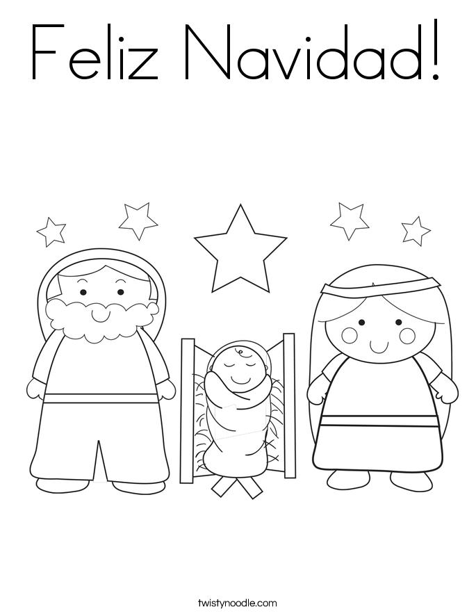 Feliz Navidad Coloring Page Twisty Noodle Feliz Navidad Coloring Pages