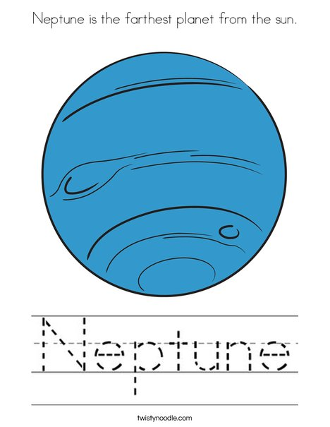 Neptune is the farthest planet from the sun. Coloring Page