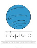 Neptune is the farthest planet from the sun Handwriting Sheet