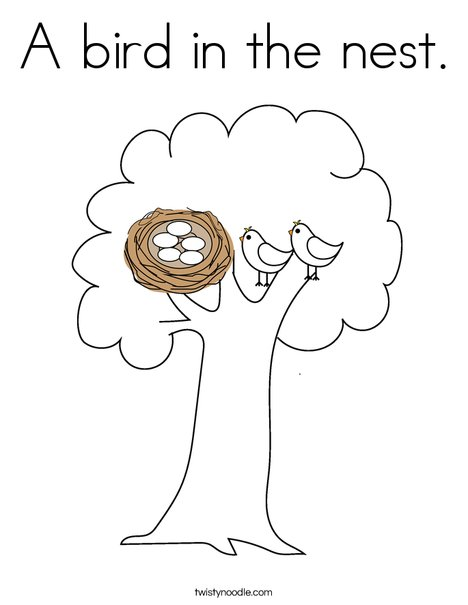A bird in the nest Coloring Page - Twisty Noodle