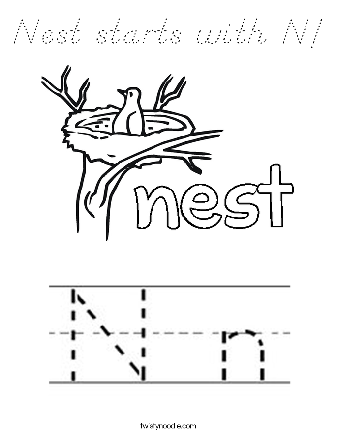 Nest starts with N! Coloring Page