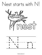 Nest starts with N Coloring Page