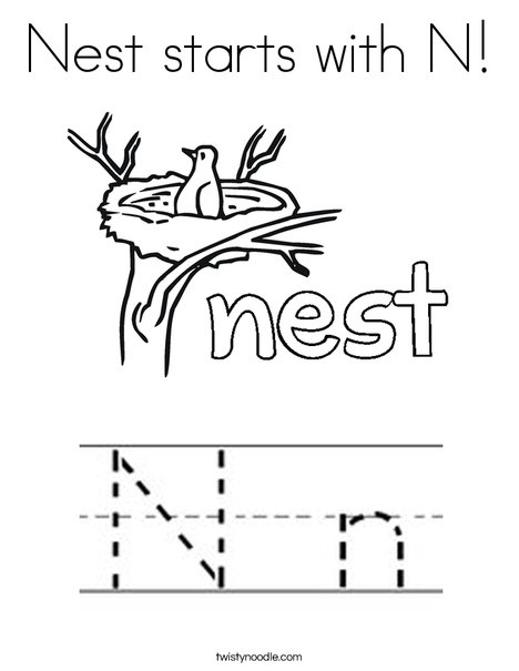 Nest Starts With N Coloring Page - Twisty Noodle