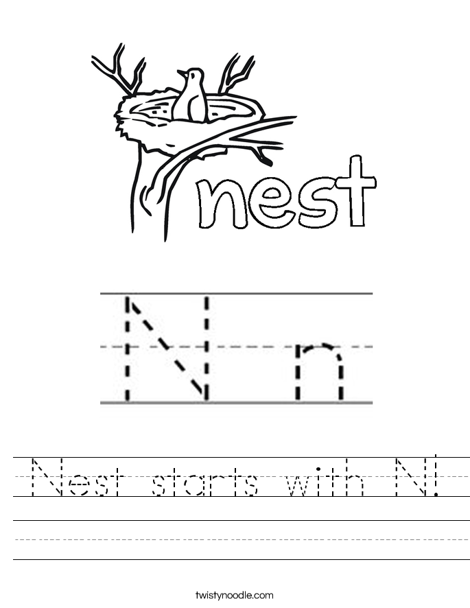 Letter N Worksheets - Twisty Noodle