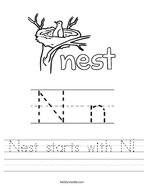 Nest starts with N Handwriting Sheet