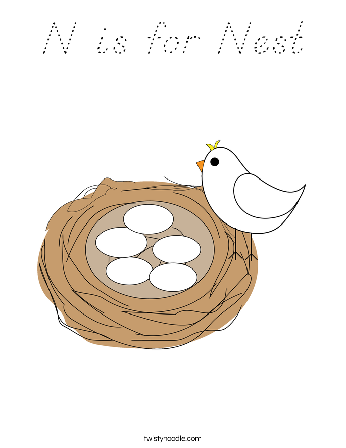 N is for Nest Coloring Page