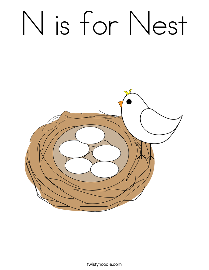 n is for nest coloring page - Colour In Sheet