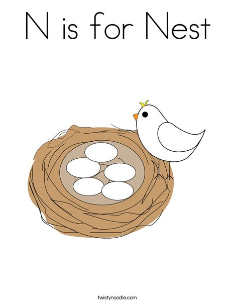 nest coloring pages N is for Nest Coloring Page   Twisty Noodle nest coloring pages