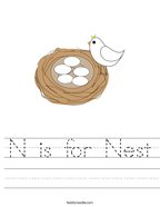 N is for Nest Handwriting Sheet