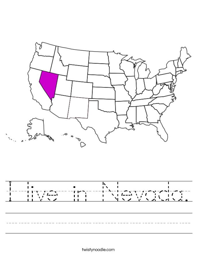 I live in Nevada. Worksheet