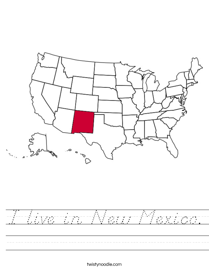 I live in New Mexico. Worksheet