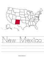New Mexico Handwriting Sheet