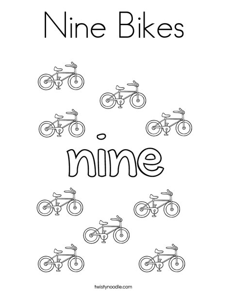 Nine Bikes Coloring Page