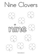 Nine Clovers Coloring Page