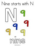 Nine starts with N Coloring Page