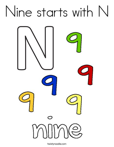 Nine starts with N. Coloring Page