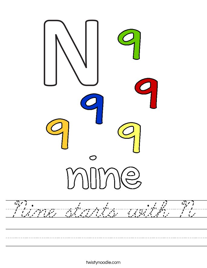 Nine starts with N Worksheet