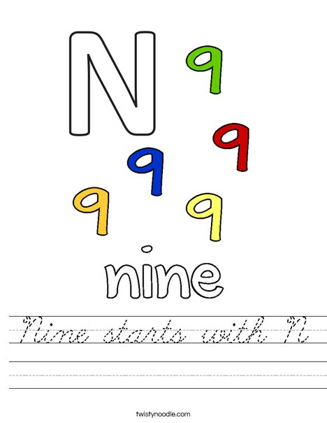 Nine starts with N. Worksheet