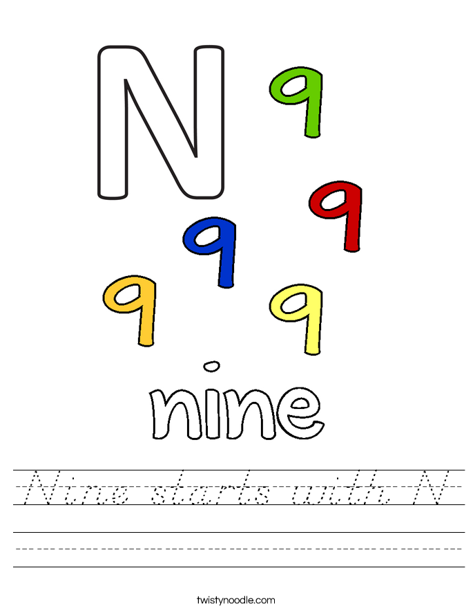 Nine starts with N Worksheet