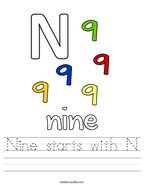 Nine starts with N Handwriting Sheet