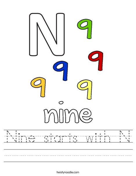 Nine starts with N. Worksheet