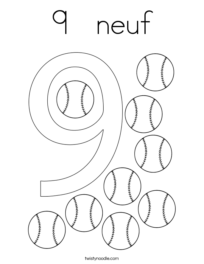 9   neuf Coloring Page