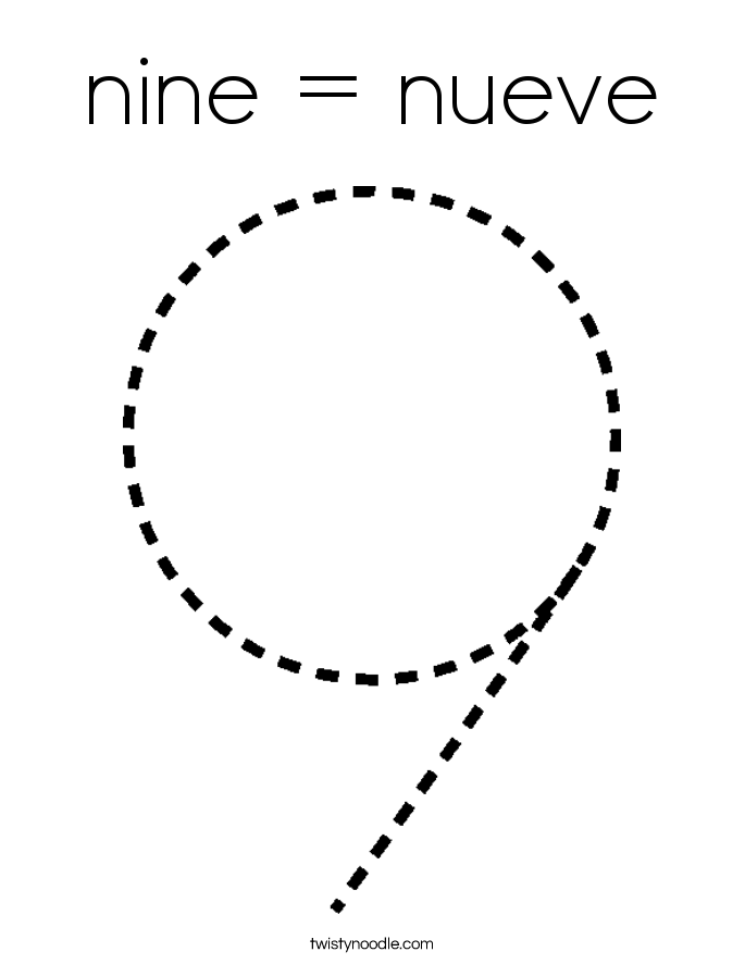 nine = nueve Coloring Page