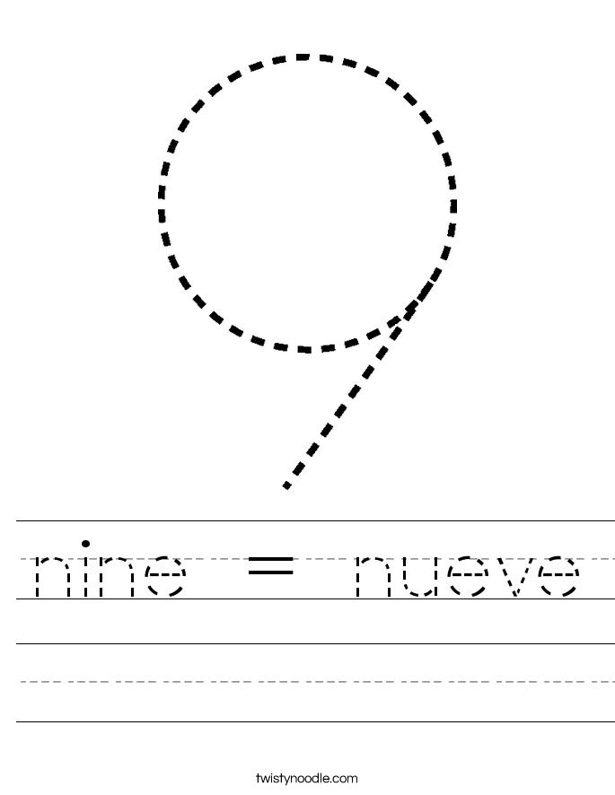 nine = nueve Worksheet