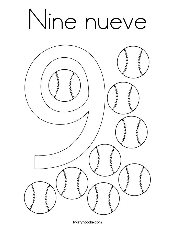 Nine nueve Coloring Page