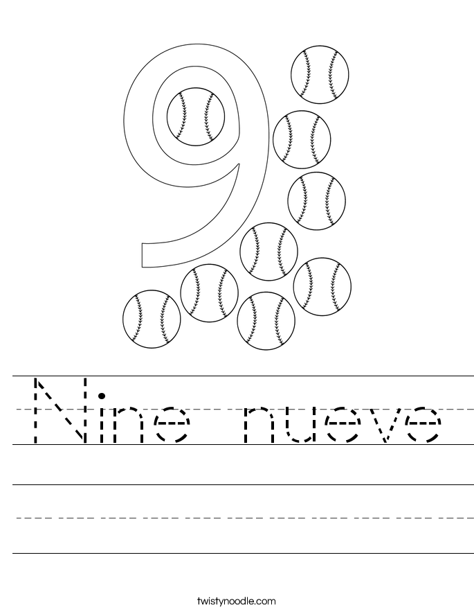 Nine nueve Worksheet
